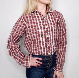 Vintage Plaid Striped Lace Button Down Shirt 506